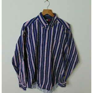 Vintage Tommy Hilfiger M Button-Down Striped Shirt